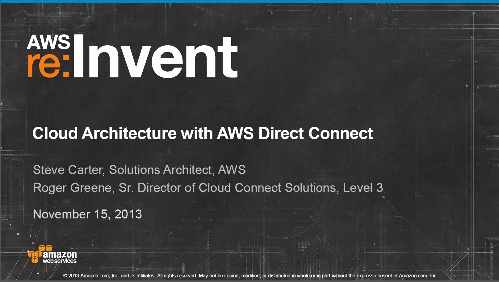 Cloud Architecture with Amazon AWS Direct Connect