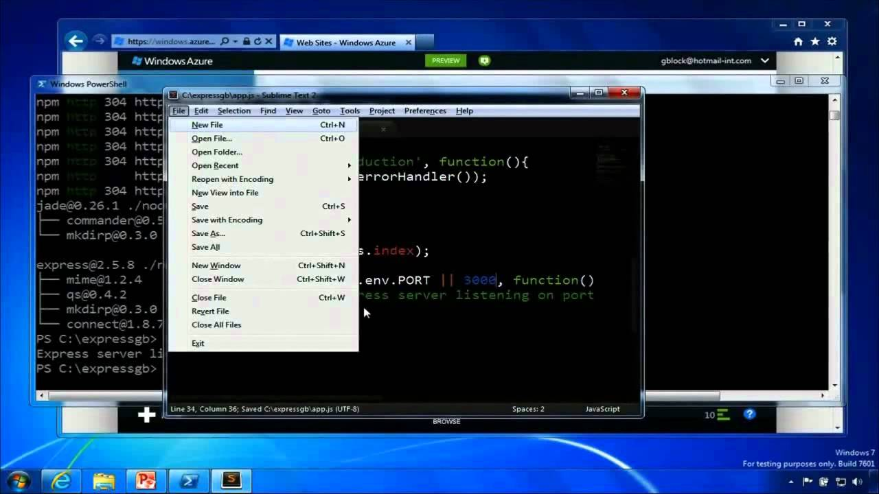 Deploy Node.js on Windows Azure