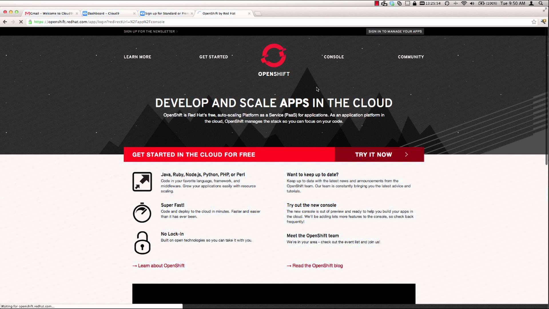 Using OpenShift with Cloud9